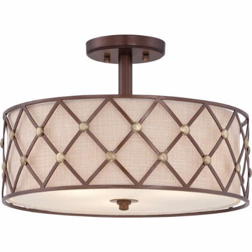 Brown Lattice | Semi Flush - Magins Lighting Flush Mount Lead Time: 5 - 6 Weeks Magins Lighting