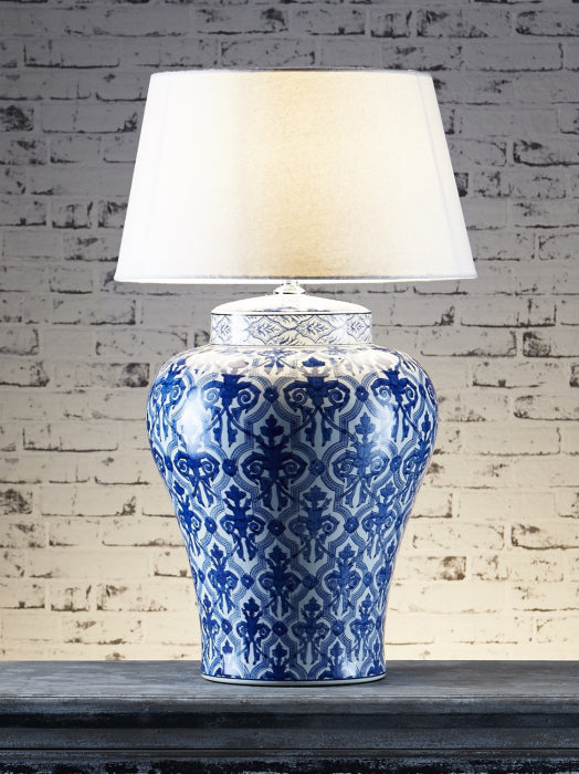 Churchill Table Lamp Base Blue/White - Magins Lighting Table Lamps Usually dispatches within 2-3 days. Please contact us to confirm prior to placing your order. Magins Lighting