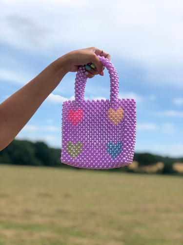 MULTI HEART BEADED BAG