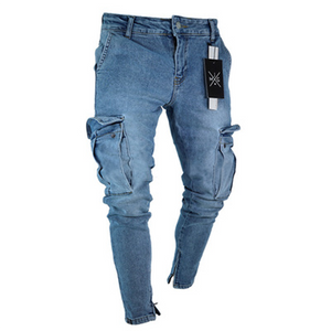 Men's jeans with zippers