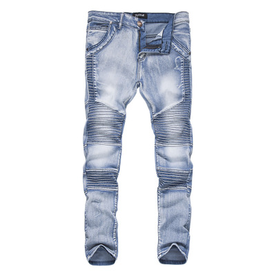 Autumn and Winter Men's Pleated Slim Jeans