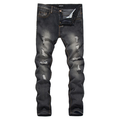 Autumn and Winter Men's Youth Trousers Hole Jeans