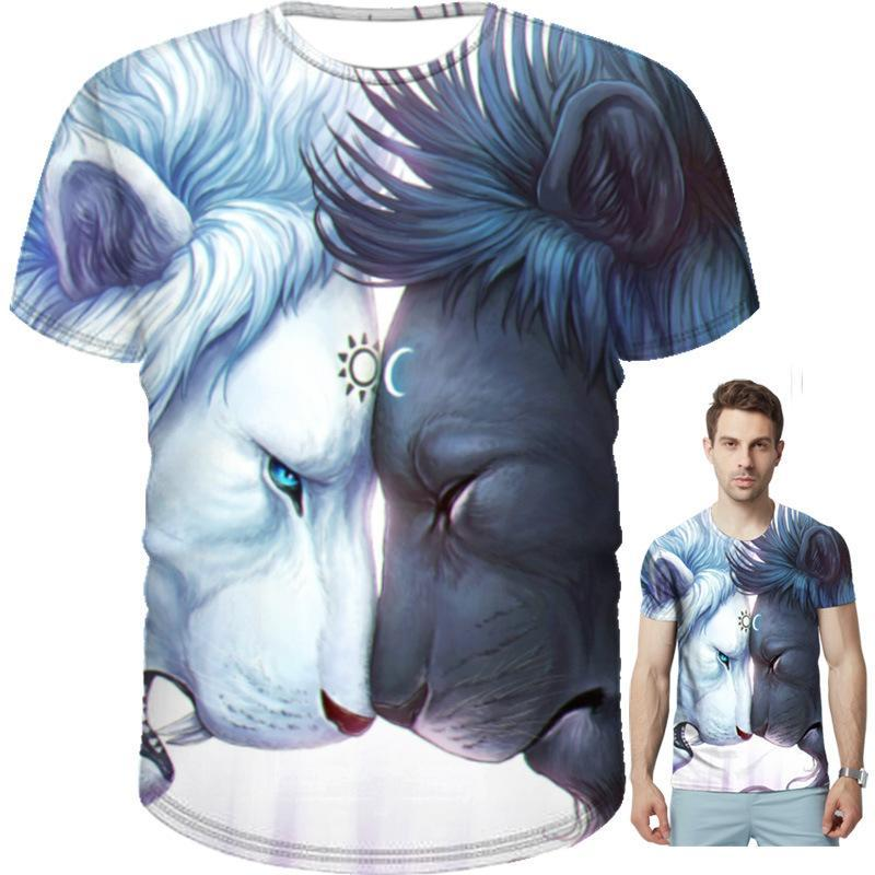 Men's T-shirt 3D Wolf Summer Short Sleeve T-Shirts Casual Tees