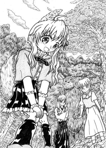 "Monochrome illustration of manga ""Ookami-chan in a small forest"" モノクロイラスト「ちいさな森のオオカミちゃん」"