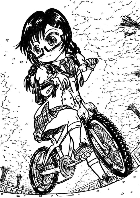 "Monochrome original illustration ""Cherry blossoms and a bicycle"" モノクロ創作イラスト「桜と自転車」"