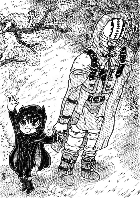 "Monochrome illustration of manga ""Somali and the spirit of the forest"" モノクロイラスト「ソマリと森の神様」"