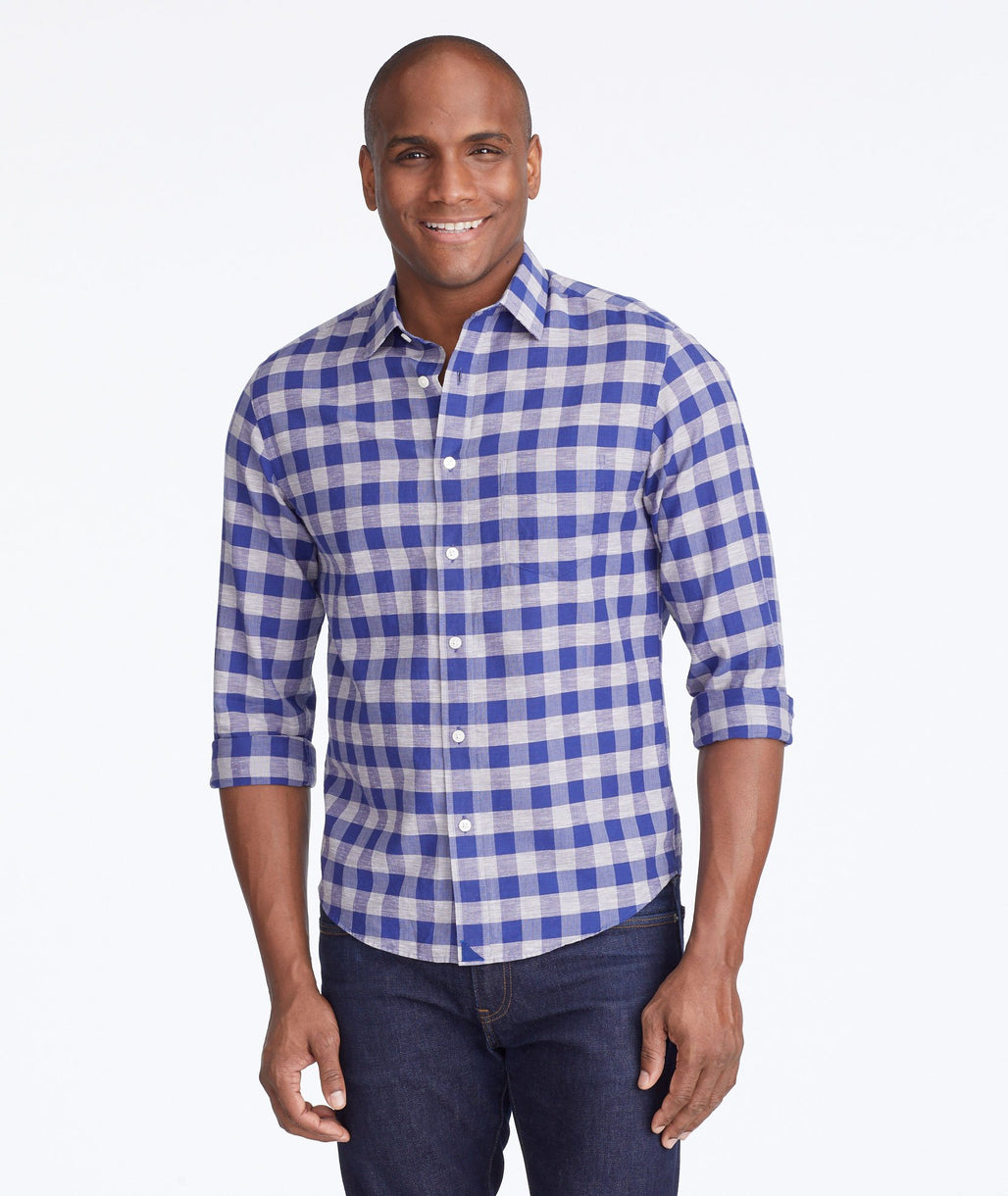 Model wearing a Blue Cotton-Linen Anderson Shirt