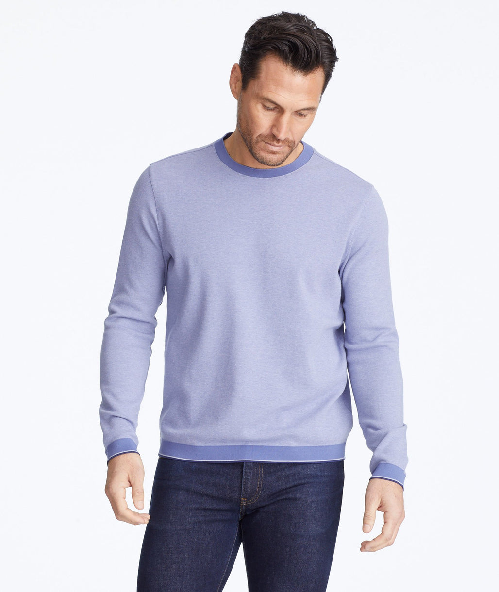 Model wearing a Blue Lightweight Andrews Sweater
