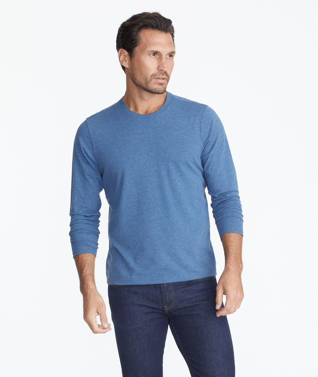 Model wearing a Blue Ultrasoft Long-Sleeve Tee