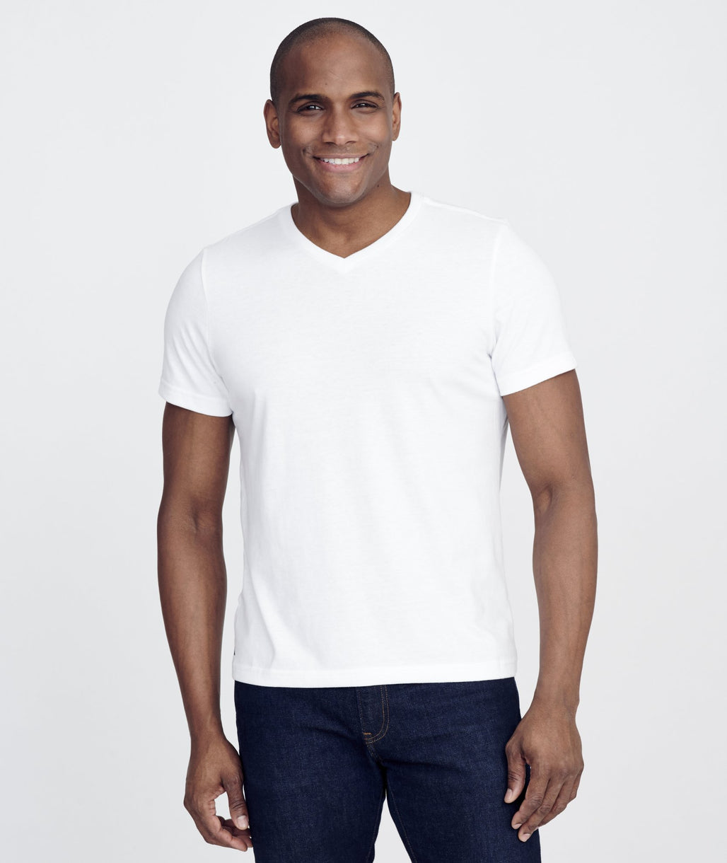 Model wearing a White Ultrasoft V-Neck Tee