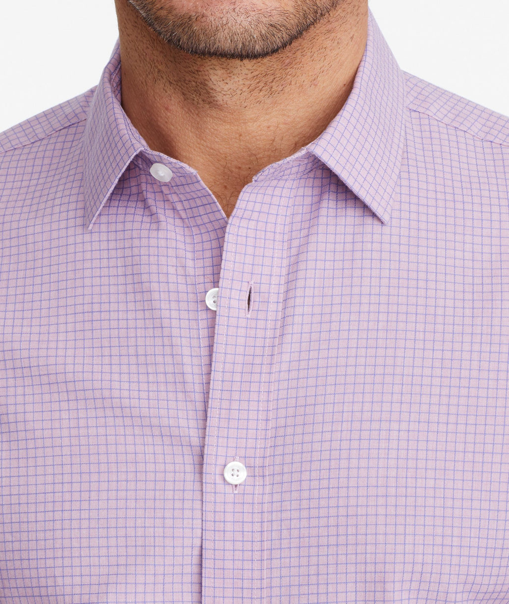 Model wearing a Purple Classic Cotton Short-Sleeve Colonia Shirt
