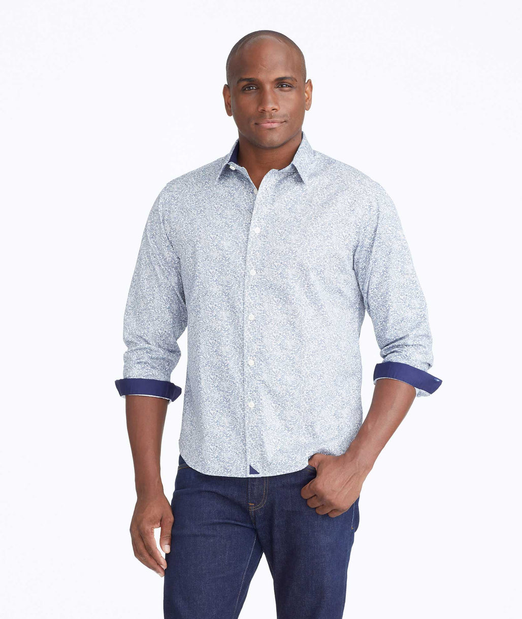Model wearing a Navy Classic Cotton Cradamone Shirt