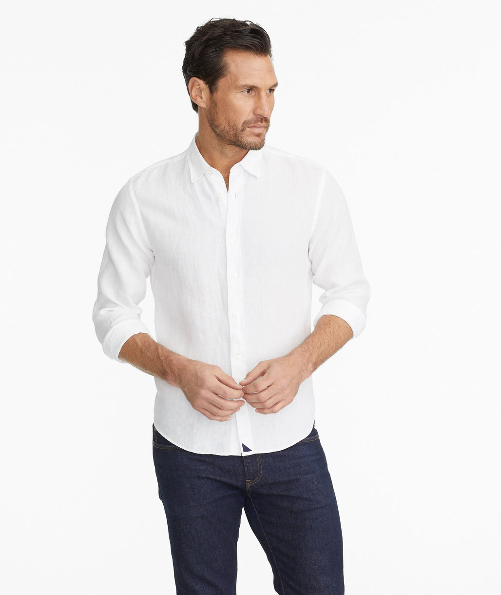 Model wearing a White Wrinkle-Resistant Linen Shirt