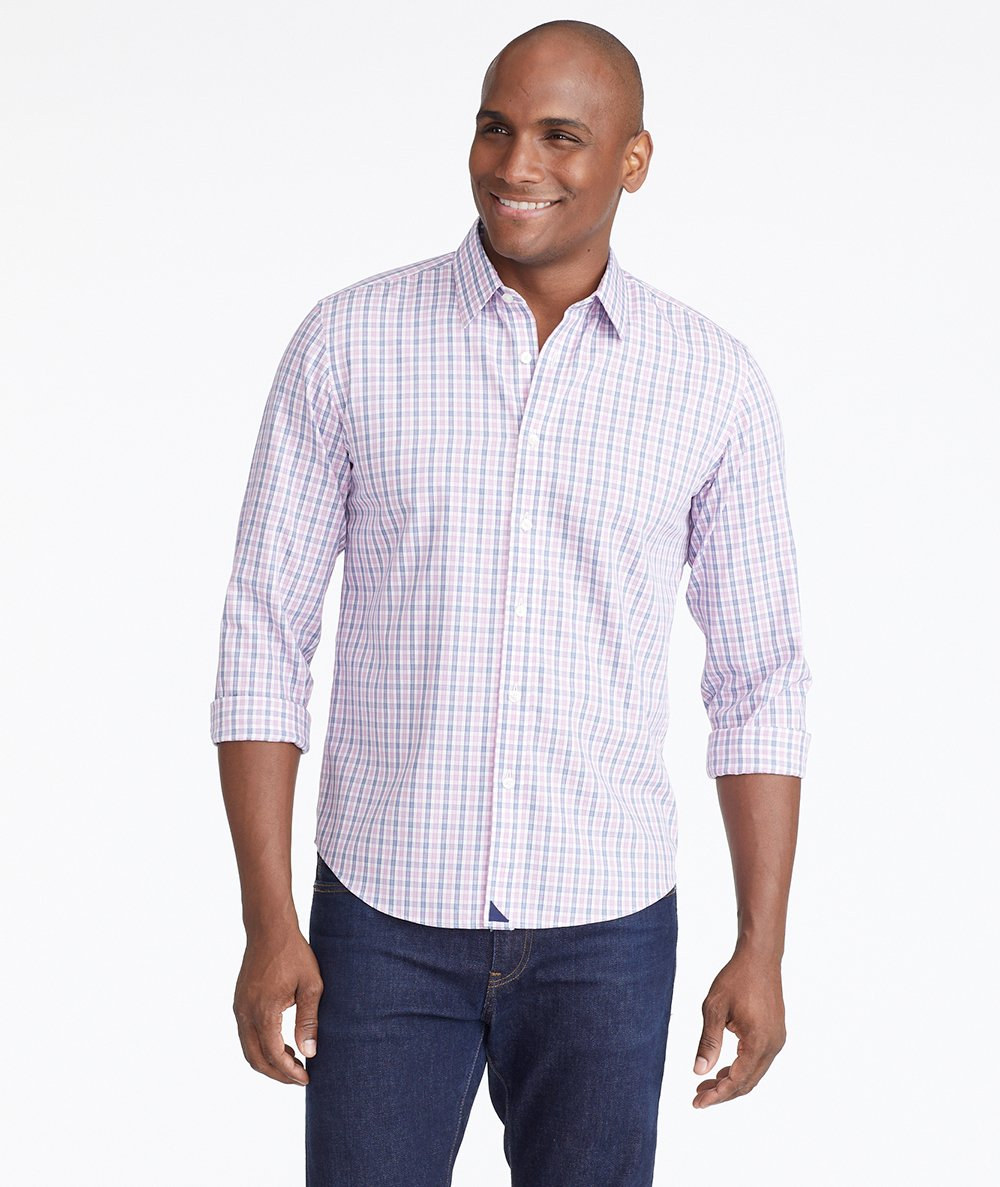 Model wearing a Pink Wrinkle-Free Dolcetto Shirt