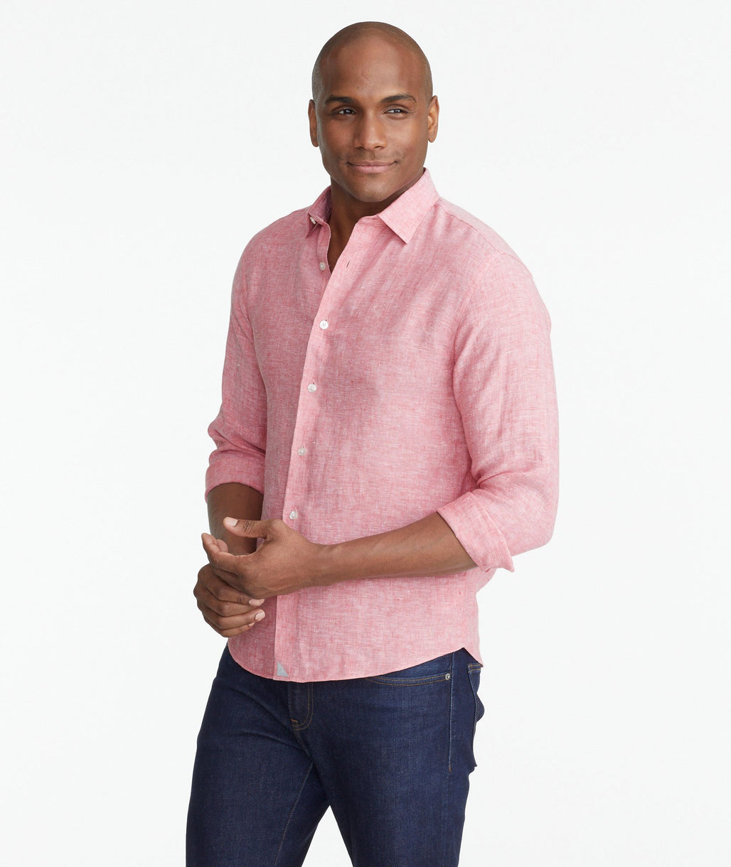 Model wearing a Mid Red Wrinkle-Resistant Linen Eberle Shirt
