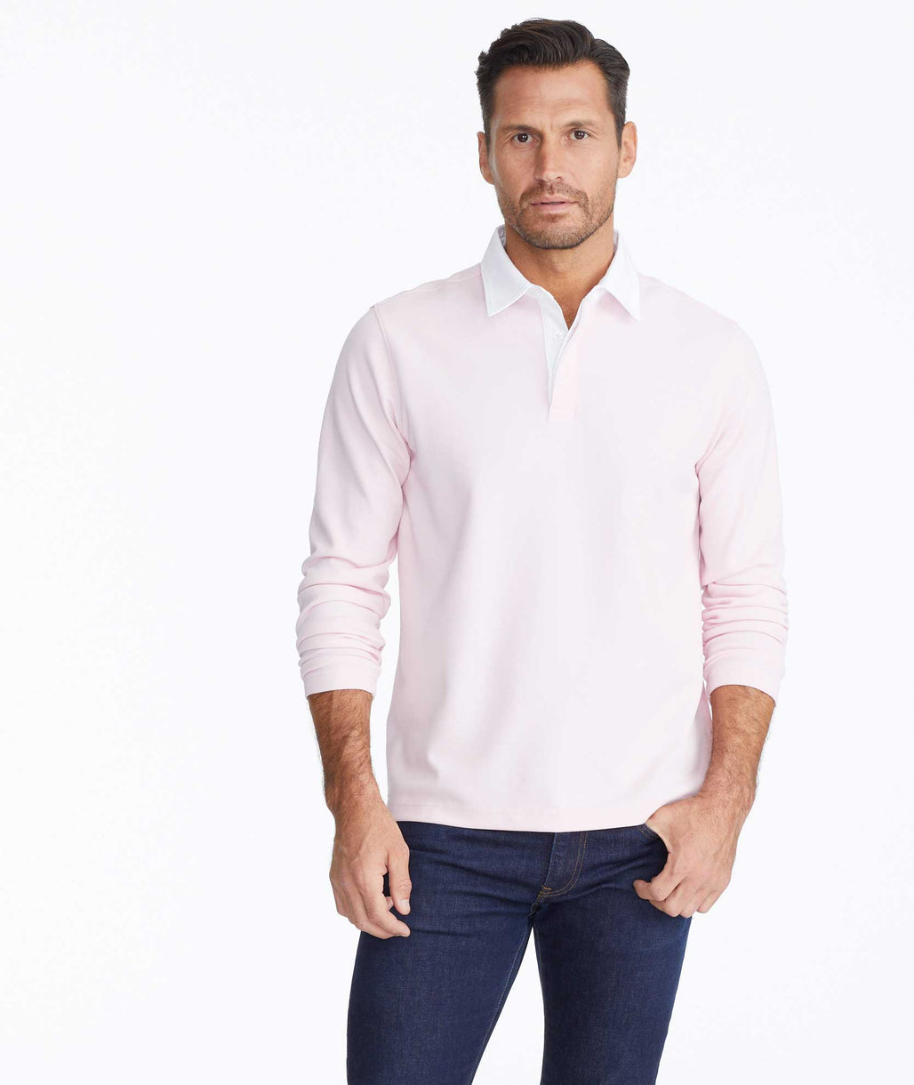 Model wearing a Contrast Collar Long-Sleeve Polo