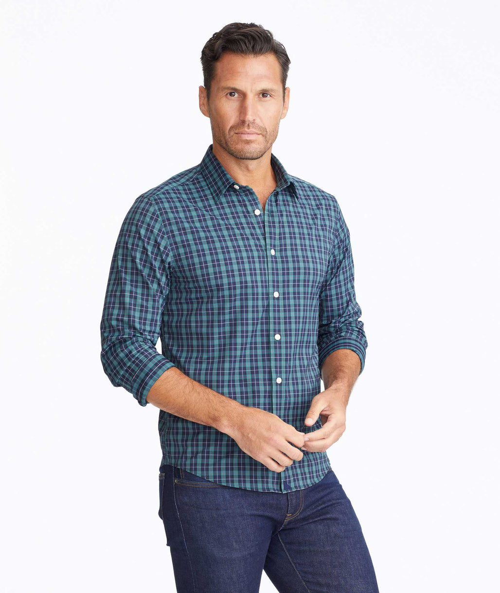 Model wearing a Green Wrinkle-Free Performance Gangard Shirt