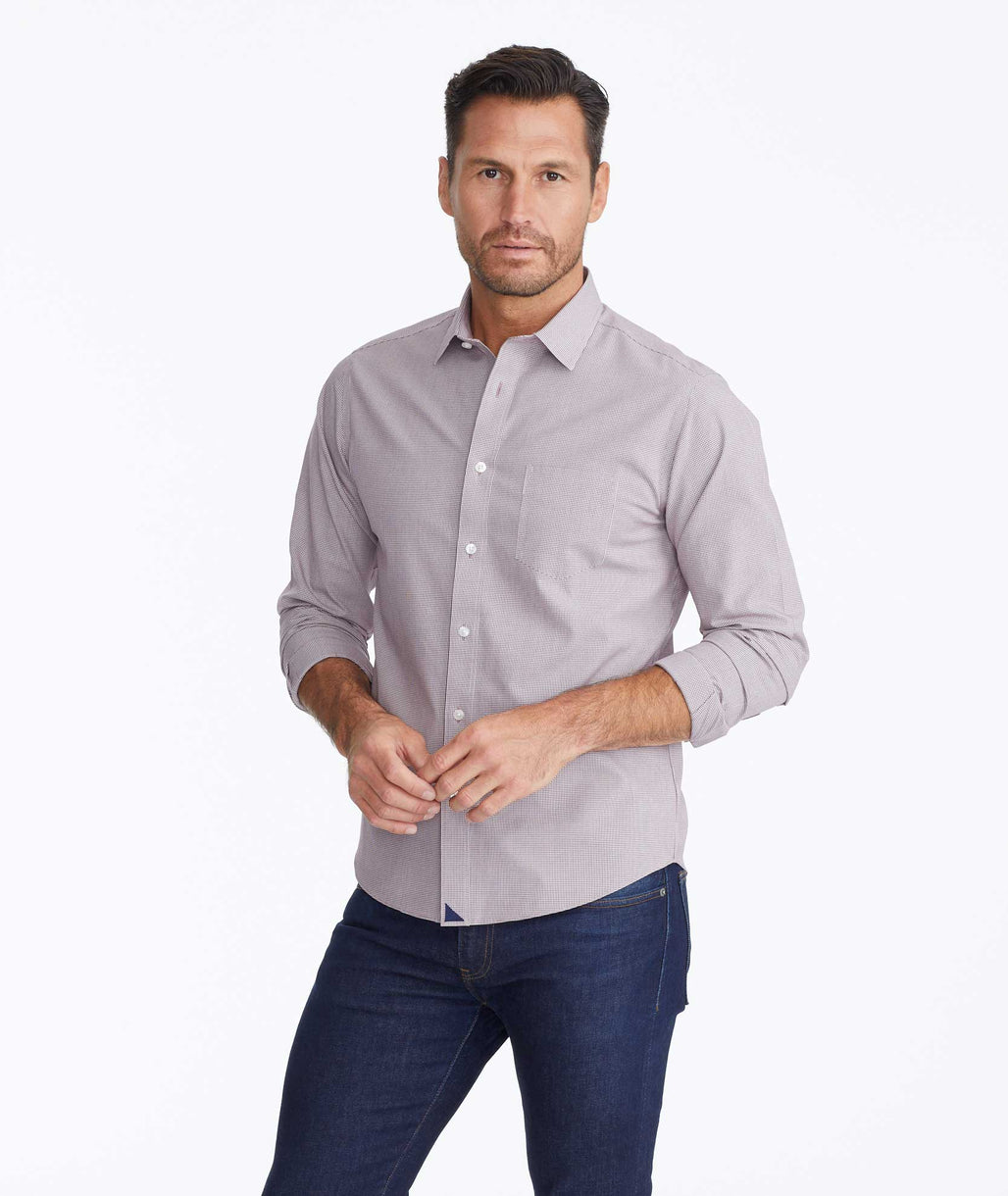 Model wearing a Dark Purple Wrinkle-Free Gargiulo Shirt