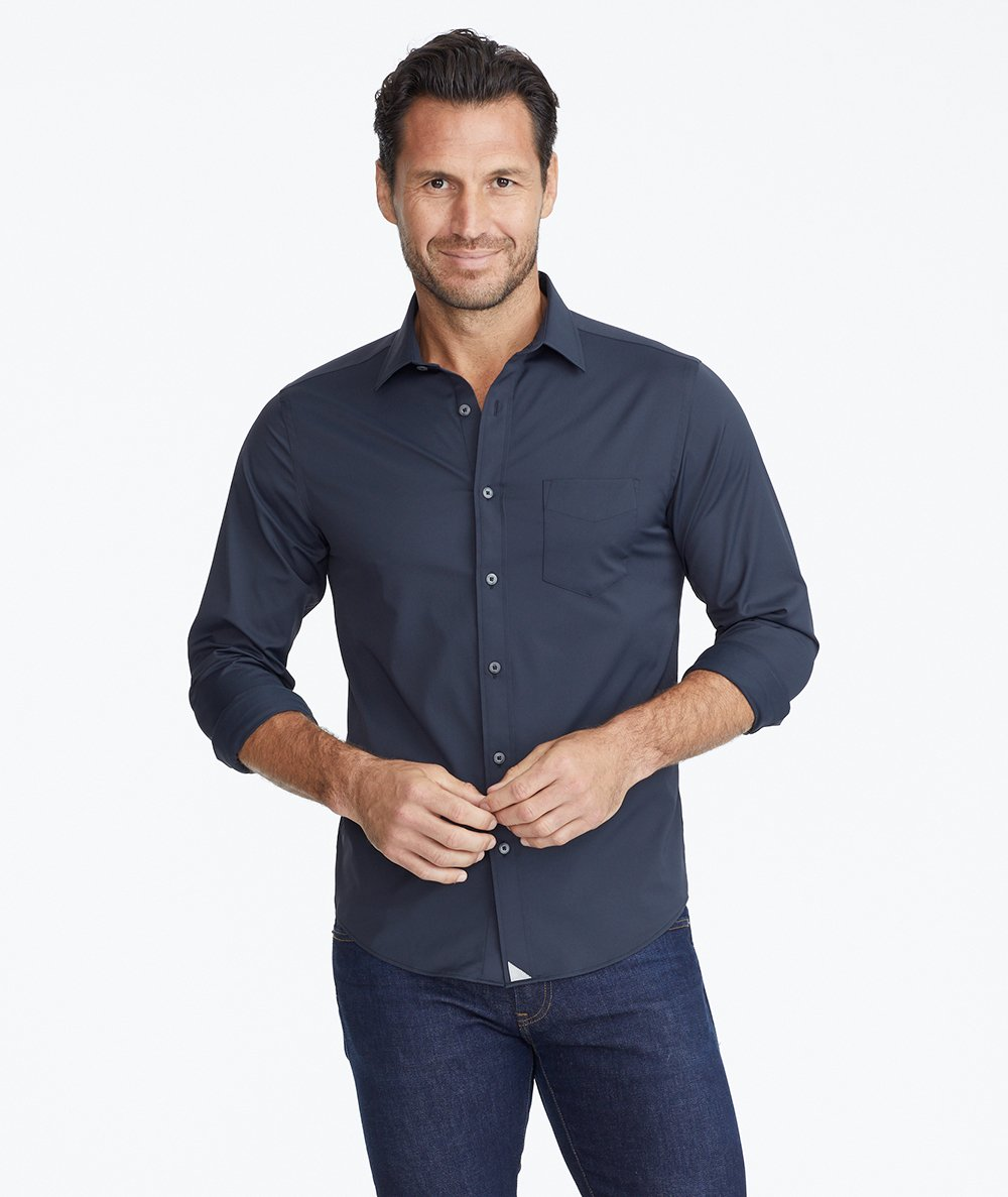 Model wearing a Black Wrinkle-Free Performance Gironde Shirt