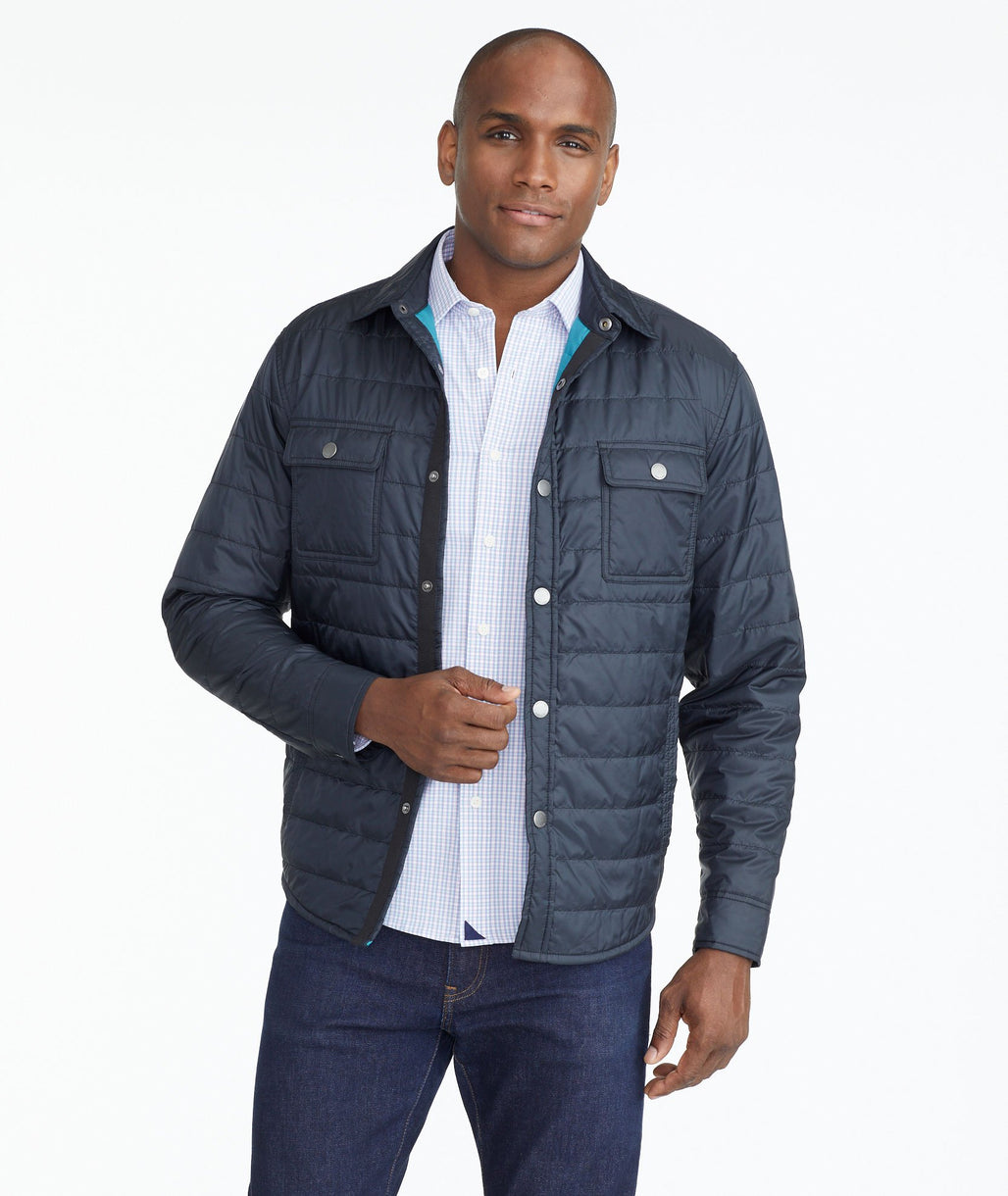 Model wearing a Black Insulated Shirt Jacket