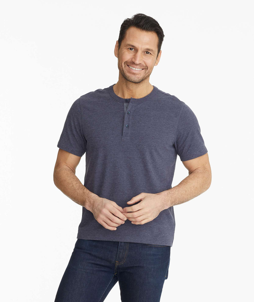 Model wearing a Dark Blue Ultrasoft Short-Sleeve Henley
