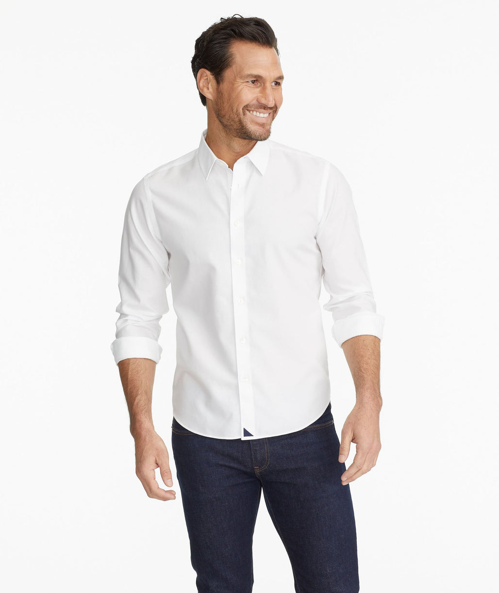 Model wearing a White Wrinkle-Free Las Cases Shirt