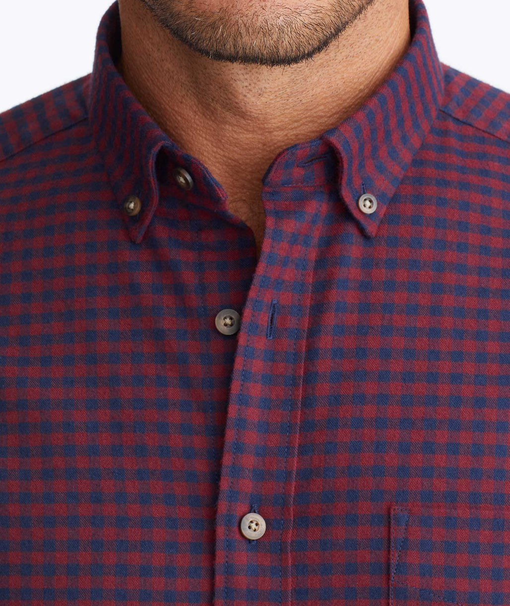 Model wearing a Navy Wrinkle-Free Performance Flannel Leland Shirt