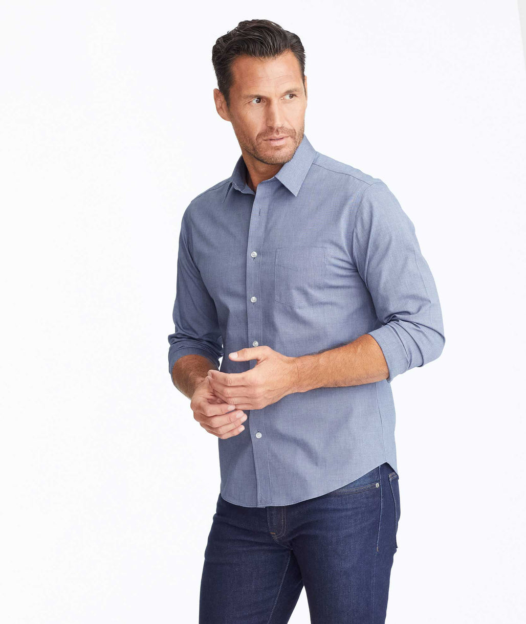 Model wearing a Blue Wrinkle-Free Oakville Shirt
