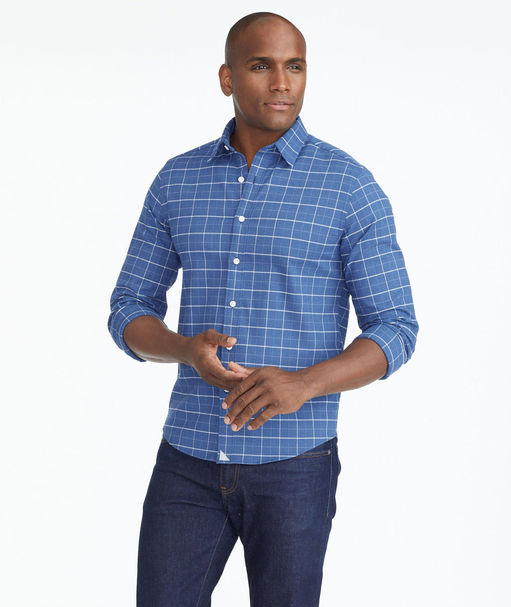 Model wearing a Blue Wrinkle-Free Performance Flannel Shirt