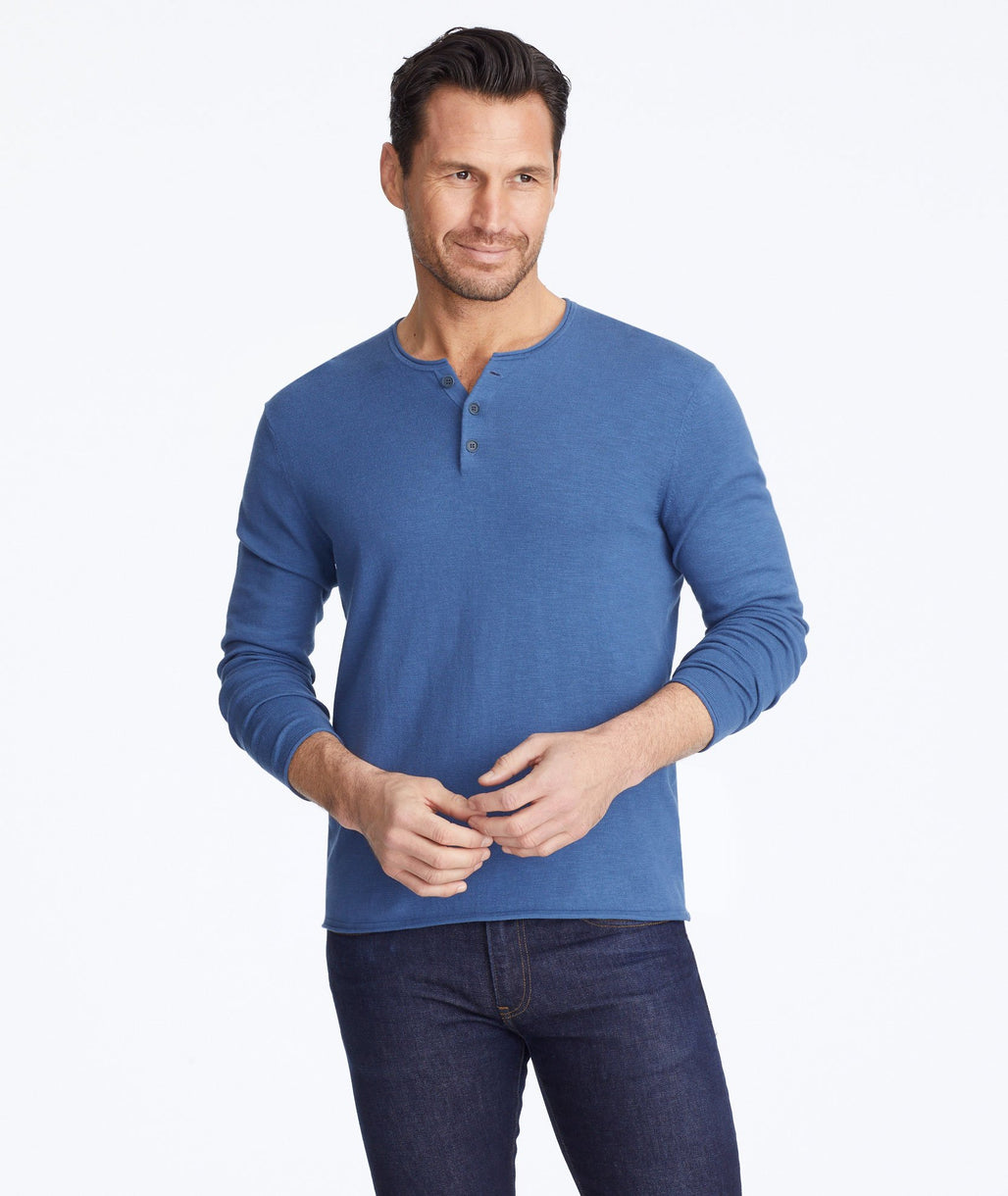 Model wearing a Navy Henley Sweater