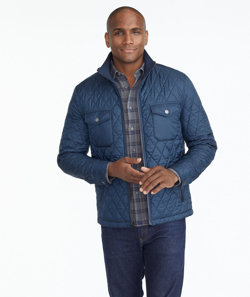 Model wearing a Navy Quilted City Jacket