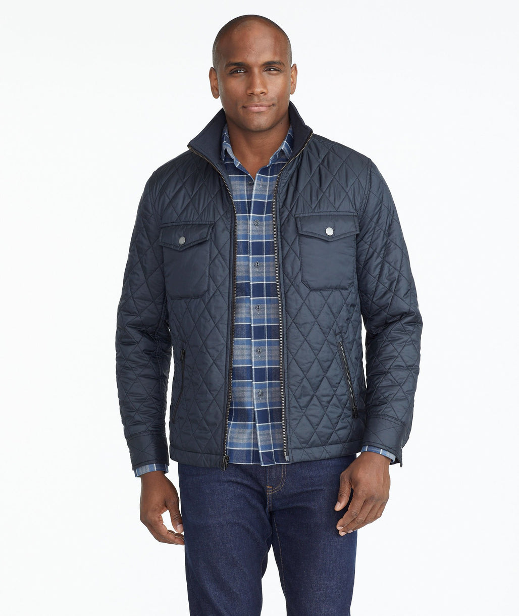 Model wearing a Dark Grey Quilted City Jacket