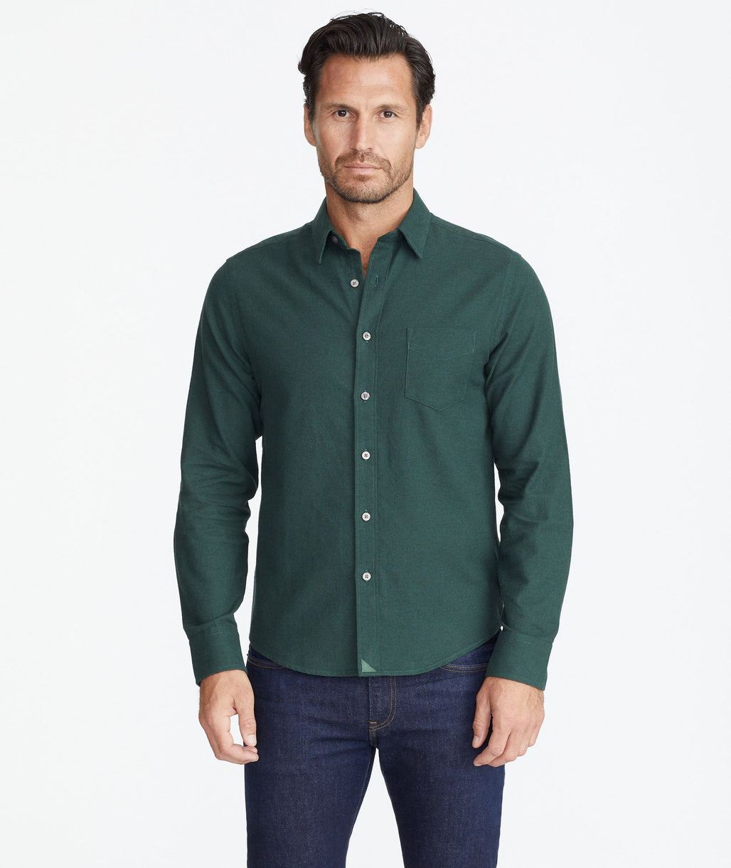 Model wearing a Green Flannel Sherwood Shirt