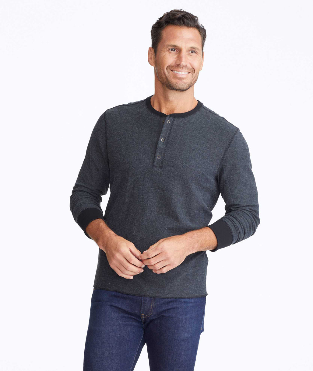 Model wearing a Black Textured Long-Sleeve Henley