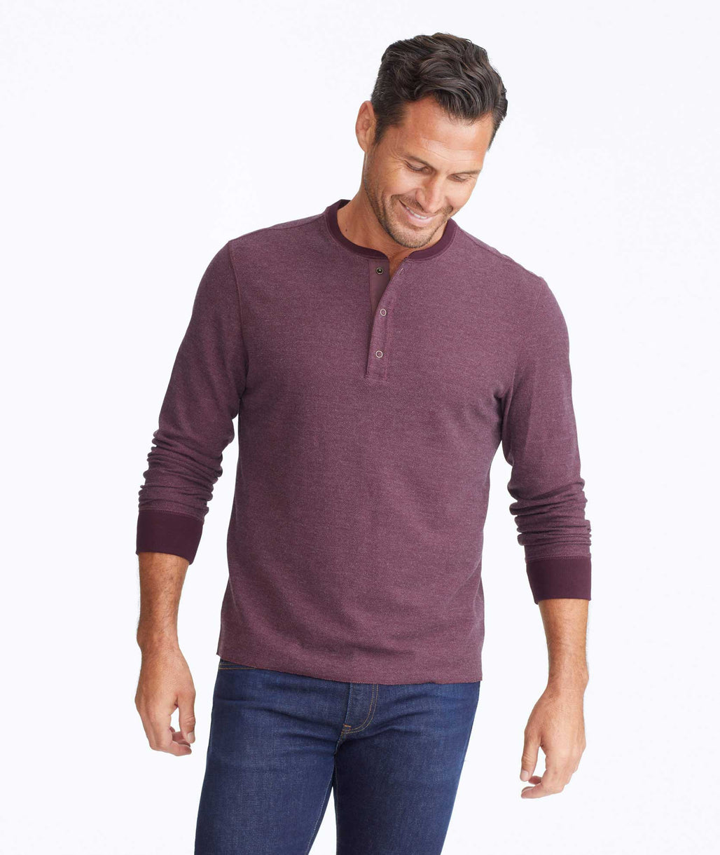 Model wearing a Dark Purple Textured Long-Sleeve Henley