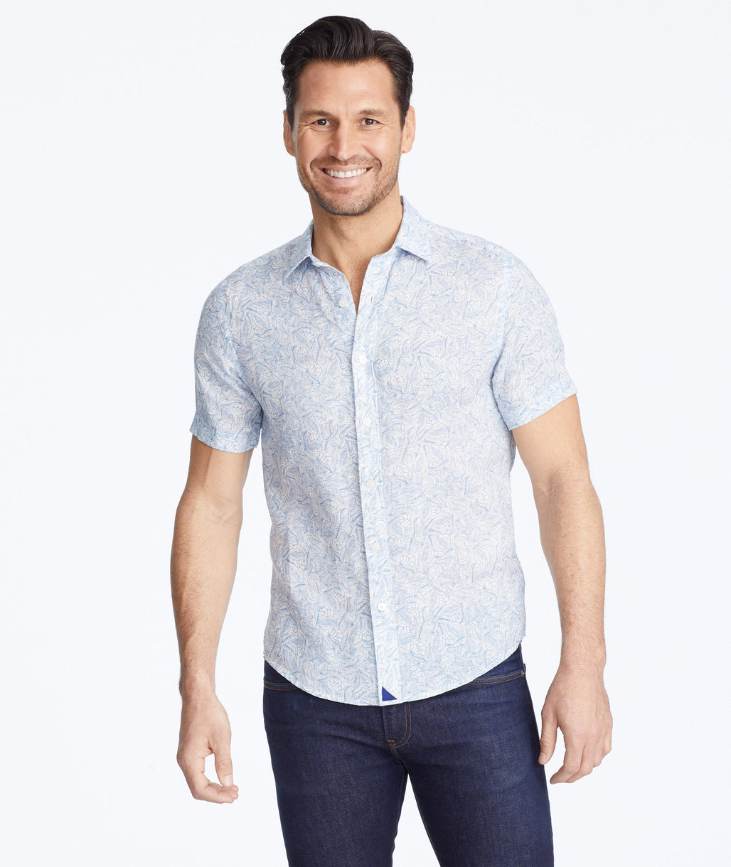 Model wearing a Blue Linen Short-Sleeve Terlan Shirt