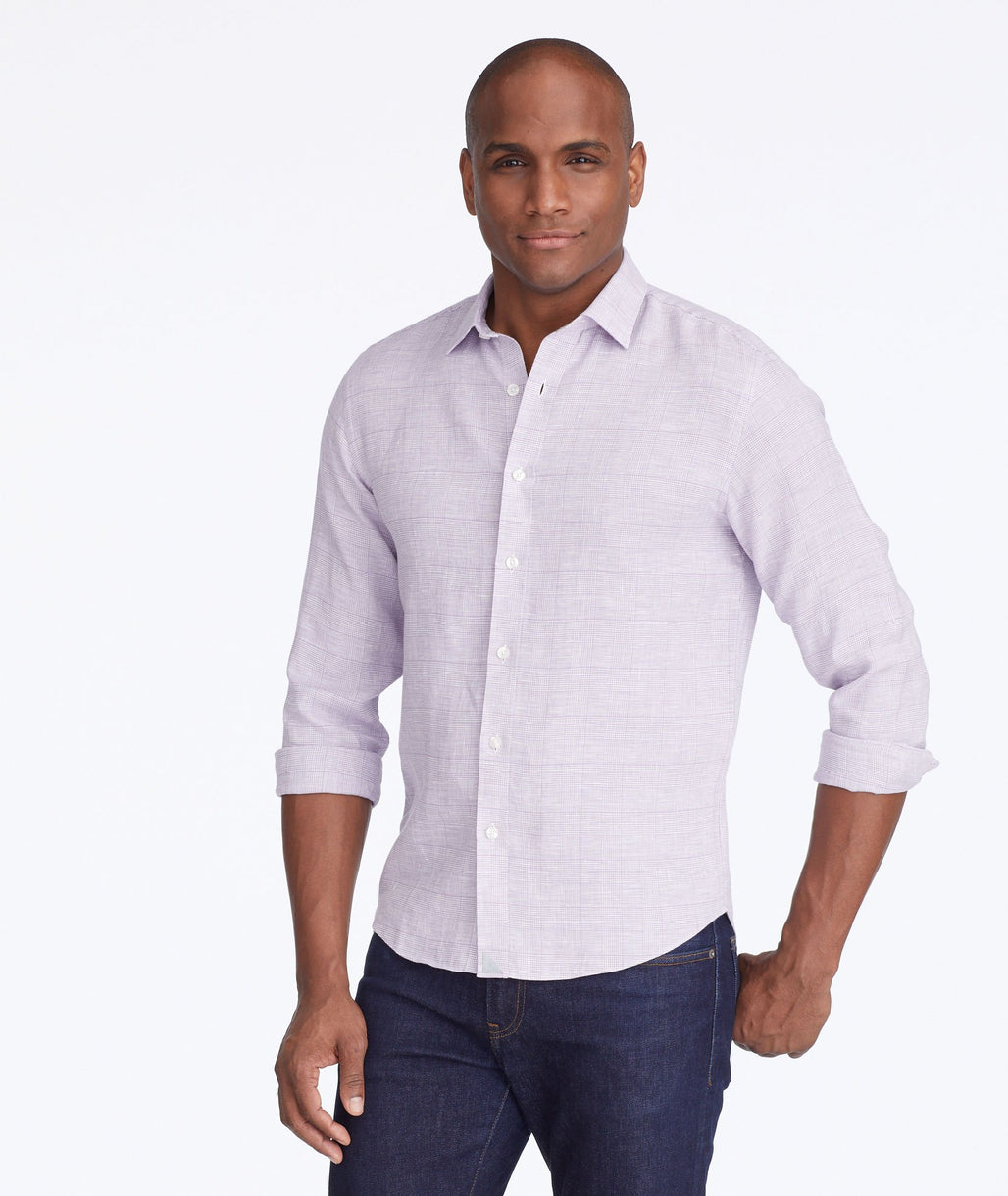 Model wearing a Purple Wrinkle-Resistant Linen Torontel Shirt