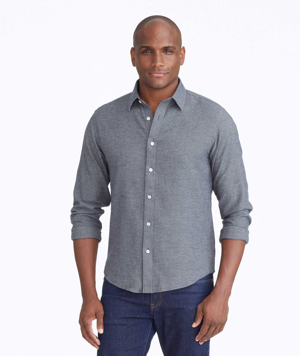 Model wearing a Dark Grey Wrinkle-Free Veneto Shirt