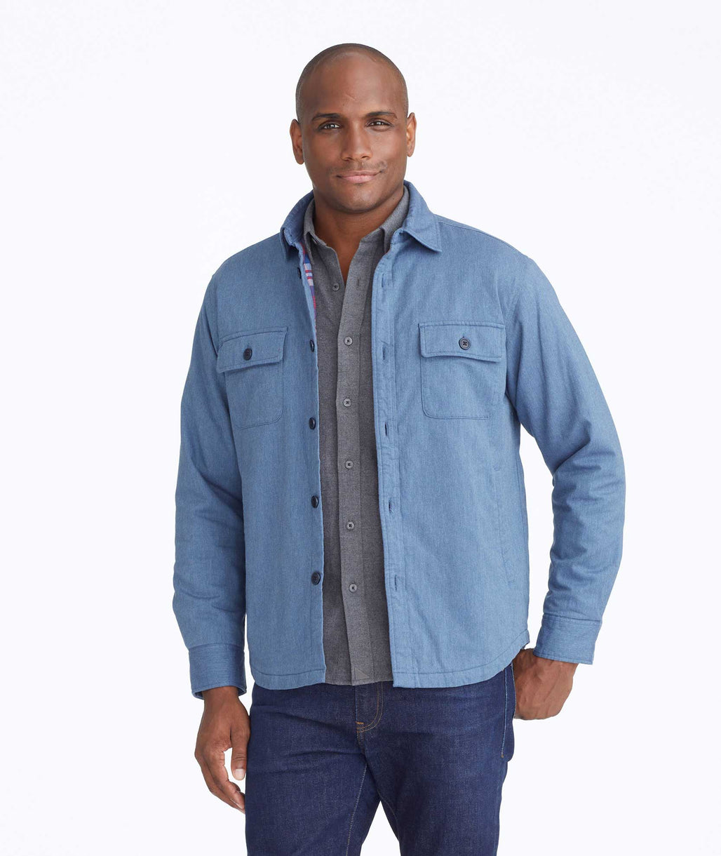 Model wearing a Blue Shirt Jacket