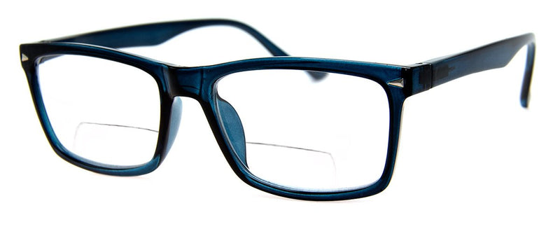 Blue - Mens, Womens, Hip, Rectangular, Bifocal Reading Glass