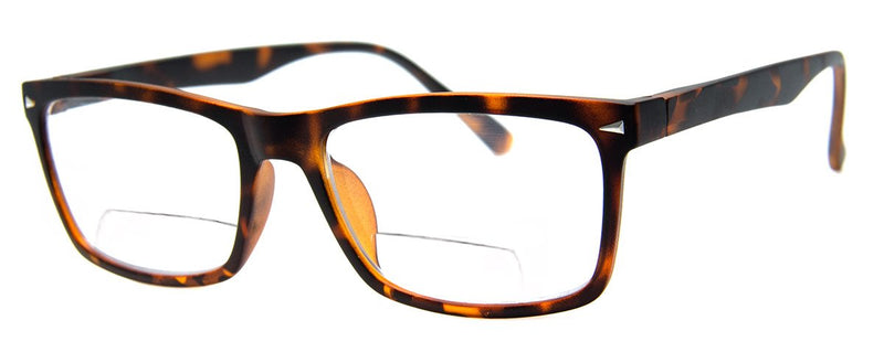 Matte Tortoise - Mens, Womens, Hip, Rectangular, Bifocal Reading Glass