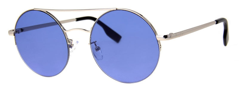 Silver with Blue Lens - Cool Circular Metal Sunglasses for Men and Women