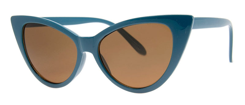 Blue - Large Vintage Inspired Cat Eye Sunglasses for Women