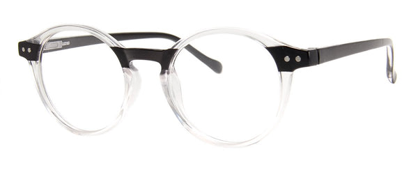 Crystal/Black - Stylish & Hip Round, Reading Glasses for Men & Women