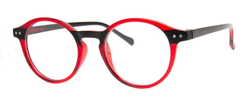 Red/Black - Stylish & Hip Round, Reading Glasses for Men & Women