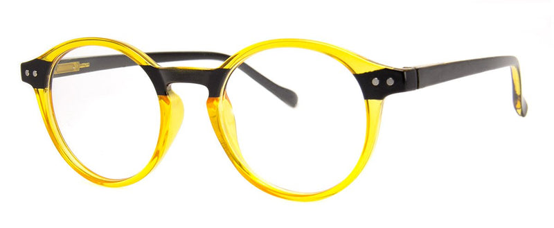 Yellow/Black - Stylish & Hip Round, Reading Glasses for Men & Women