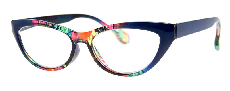 Blue/Multi - Stylish & Hip, Cat Eye Reading Glasses for Women