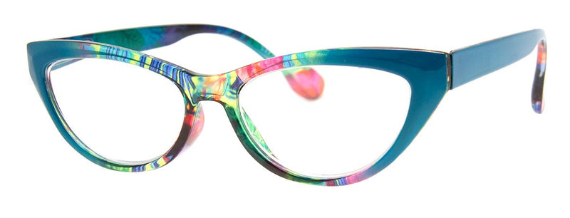 Teal/Multi - Stylish & Hip, Cat Eye Reading Glasses for Women