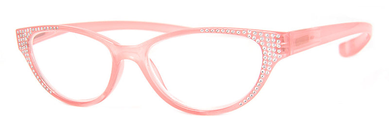 Pink - Hip, Designer, Cat Eye Reading Glasses with Rhinestones