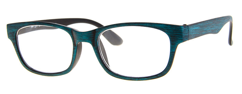 Teal Wood - Hip, Stylish, Rectangular, Wood Print Reading Glasses for Men & Women